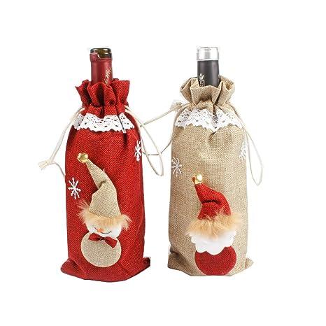 JUNMAONO 2 Pedazos Cubierta De Vino De Navidad, Navidad Bolsa De Vino Tinto Botella,