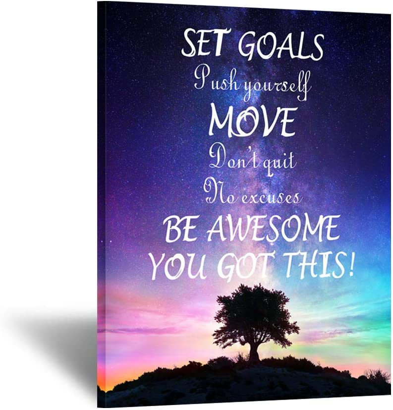 Kreative Arts Set Goals, Push Yourself, Don't Quit - Inspirational Quotes Canvas Prints Wall Decal Gym Office Classroom Quotes Framed Artwork Home Decoration Motivational Posters Art Print 24x32inch