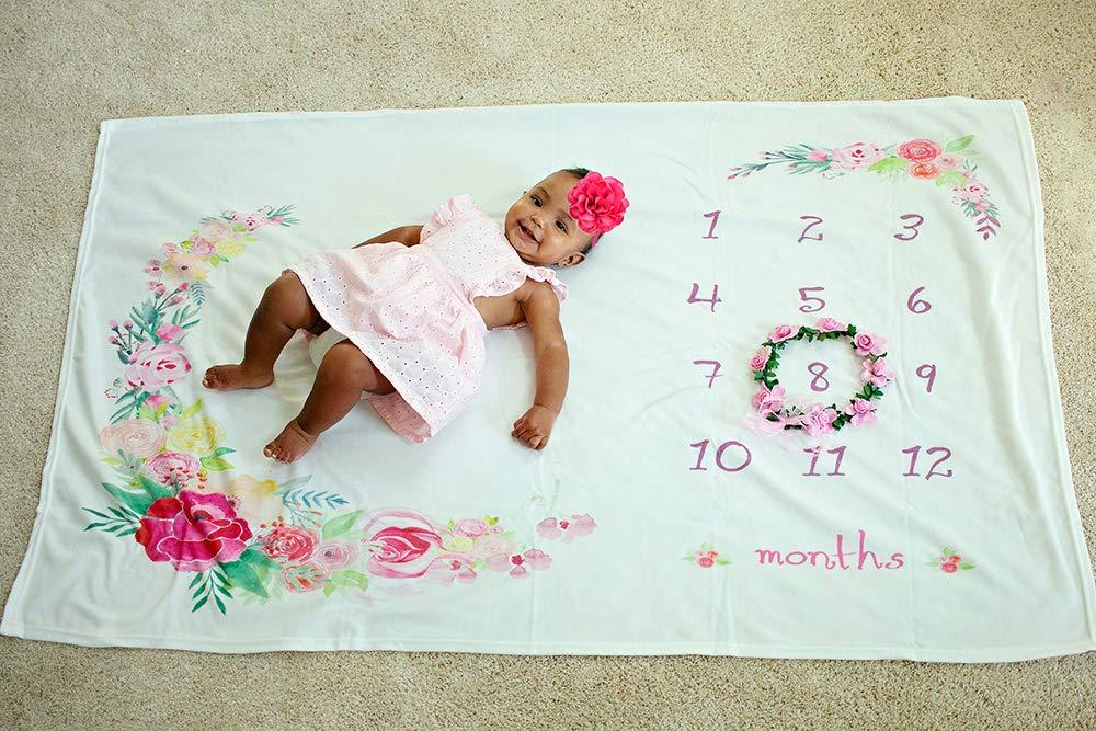 Amazon.com: Bebé Mensual Milestone – Manta Floral, suave: Baby