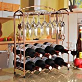 RHWR Wineglass rack cup holder wine bottles shelf hanging upside down on the living room wine rack cups wine bottle Shelf 2 in 1, 4 bottles of wine can be placed only 8 cup Shelf