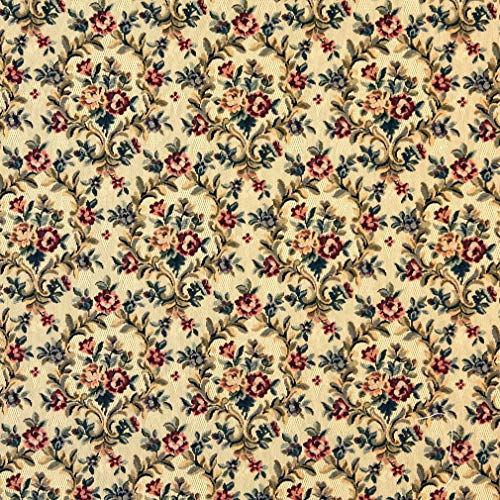 - Golden and Aqua Burgundy Floral Heirloom Vintage Tapestry Upholstery Fabric by the yard