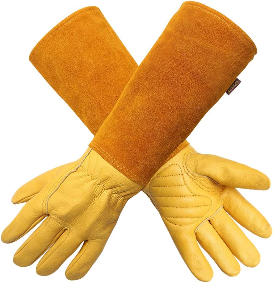 Gardening Gloves for Women/Men- Alomidds Rose Pruning Thorn & Cut Proof Elbow Length Durable Cowhide Leather Garden Work Gloves (S, YELLOW)