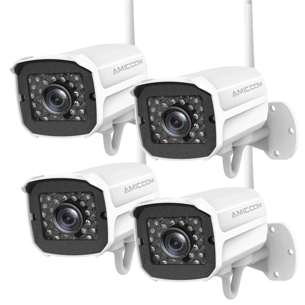 Outdoor Security Camera (4 Pack) , 1080P HD Security Camera System Wireless,Pet Camera,Night Vision, 2-Way Audio,2.4Ghz WiFi Smart Home Camera with MicroSD Slot,iOS, Android App for Office/Baby/Nanny by AMICCOM