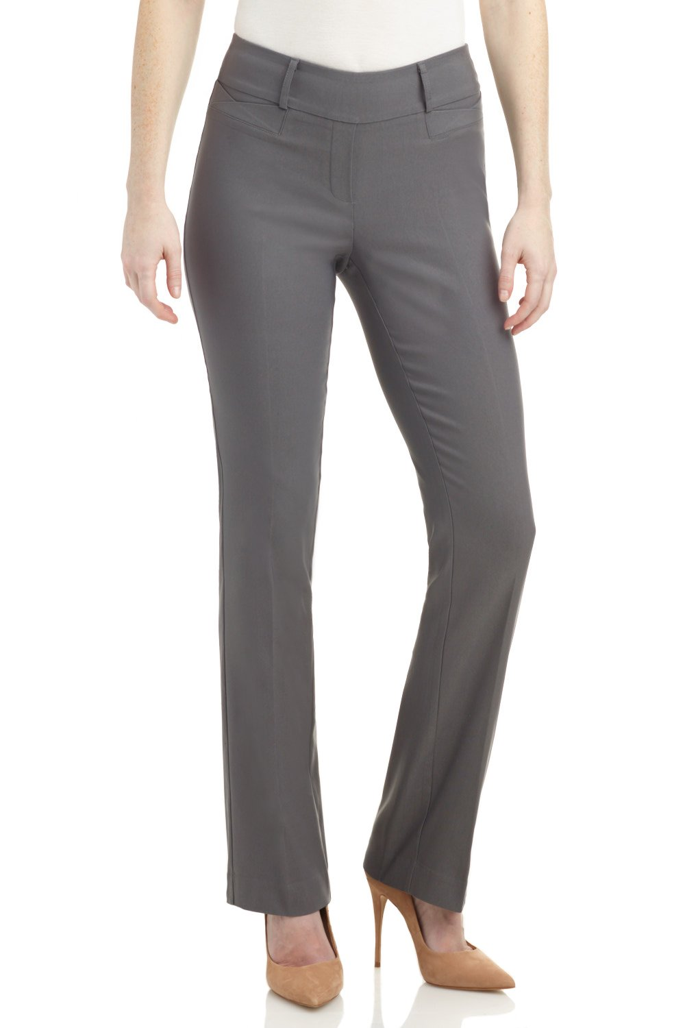 Rekucci Women's Ease in to Comfort Fit Barely Bootcut Stretch Pants (18,Graphite)