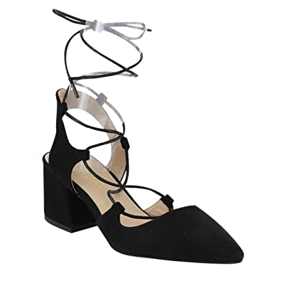 064e76c2efcd LILIANA GF19 Women s Pointy Toe Lace Up Middle Covered Heel Strappy Dress  Shoes
