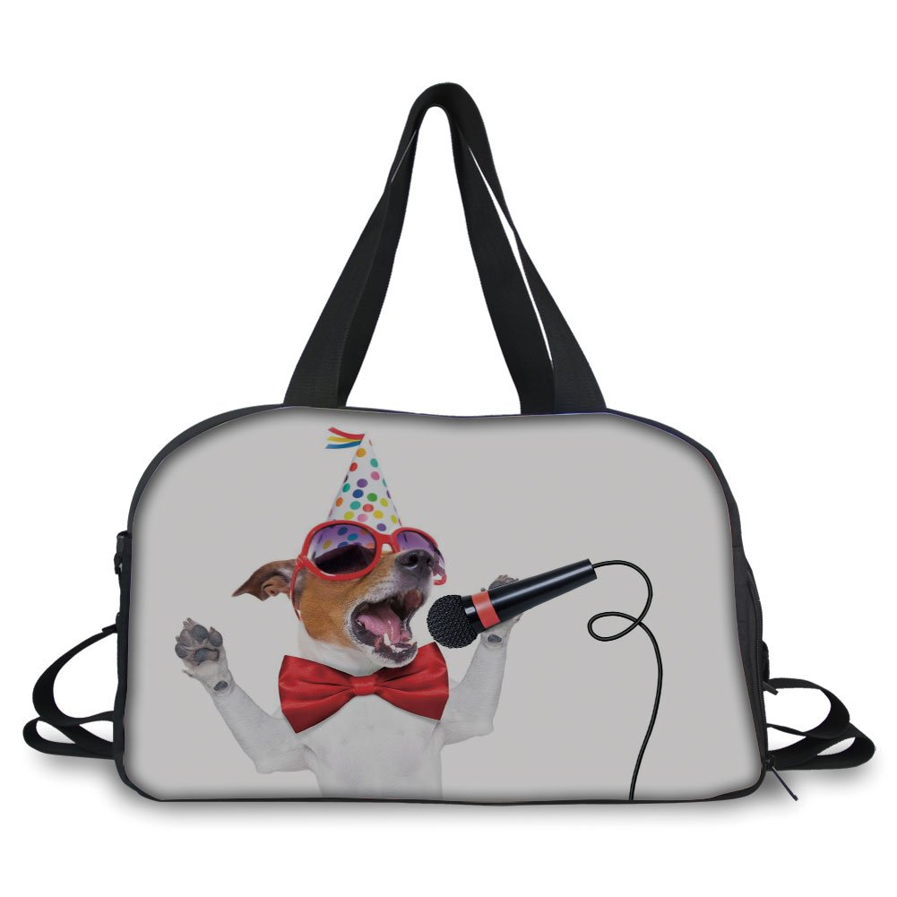 Trunk,Popstar Party,Jack Russel Dog with Sunglasses Party Hat and Bowtie Singing Birthday Song Decorative,Multicolor,Picture Print
