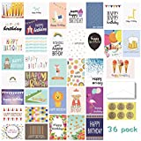 Birthday Card - 36-Pack Birthday Cards Box Set - Unique Assorted Designs Blank on the Inside Birthday Card Bulk, Envelopes Included, 4 x 6 Inches