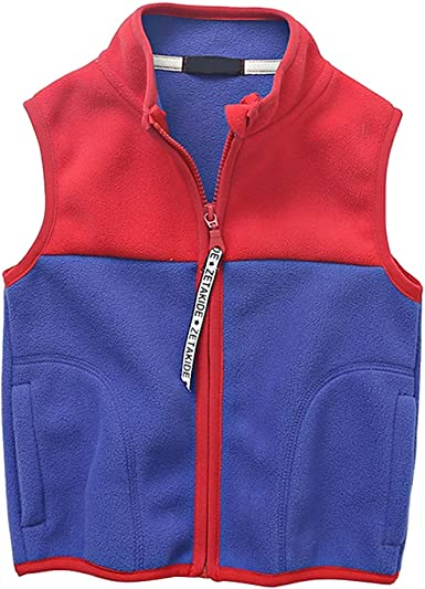 Daytwork Boys Girls Sleeveless Fleece Gilet Cozy Stitching Color Jacket Body Warmer Vest Soft Zipper Kids Waistcoat