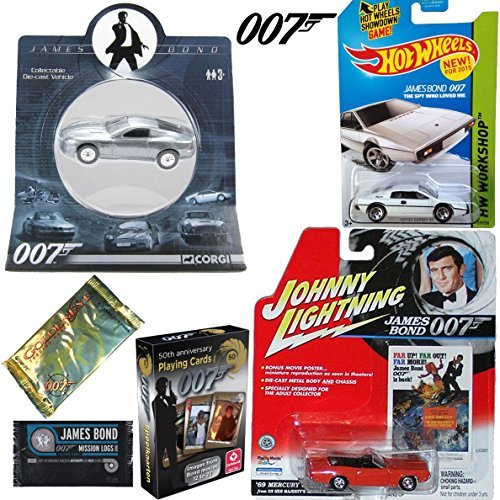 007 Action Set - 3 Cars & Mission Logs Cards - Hot Wheels
