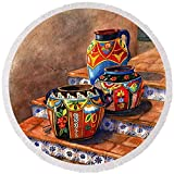 Pixels Round Beach Towel With Tassels featuring ''Mexican Pottery Still Life'' by Marilyn Smith
