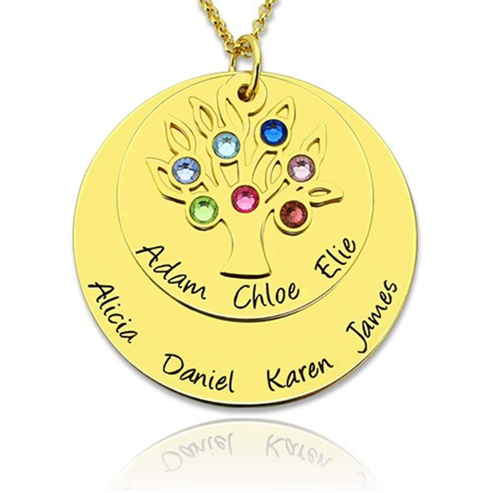 Amazon com: Personalized Family Tree Necklace Birthstones