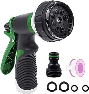 Onarway Garden Hose Spray Gun Set 8 Patterns High Pressure Nozzles, Anti-Slip Design, Perfect for Watering Plants Car Washing Shower Pet, 3PCS Garden Watering Set Green