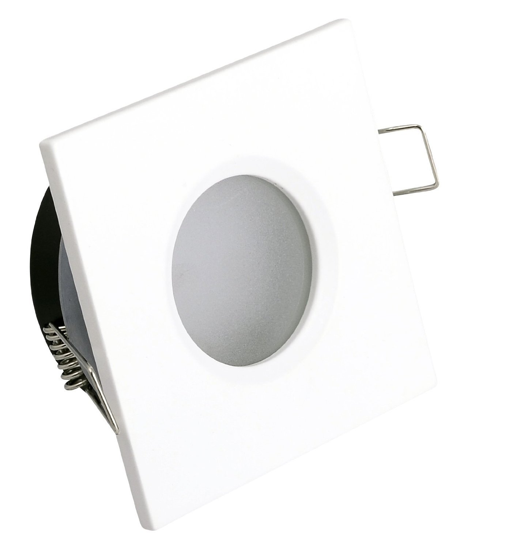 Bad Einbaustrahler IP44 Farbe: Weiss - Matt + GU10 230Volt 5Watt LED warmweiss & GU10 Fassung QUADRATISCH [Energieklasse A+] I-Lights24 Hausmarke IP65-QW-5Watt