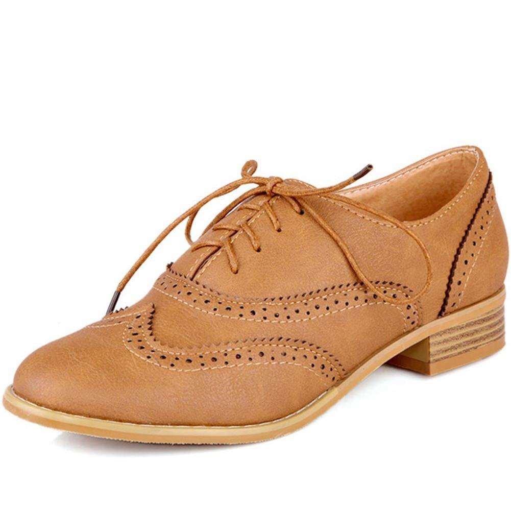 DecoStain Women's Firing Process Lace-up Breathable Comfortable Low-Heel Oxford Shoes