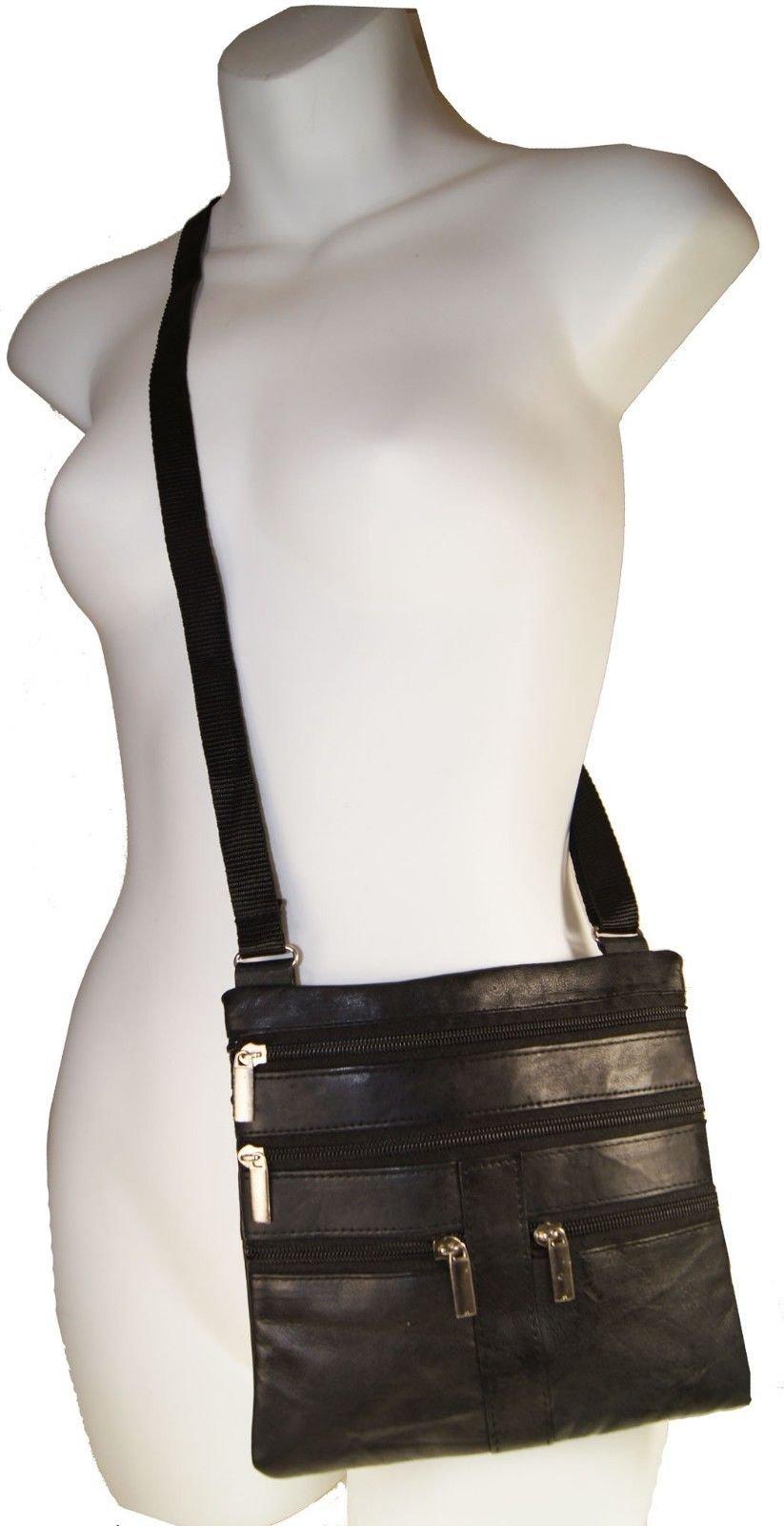 Black Ladies Genuine Leather Cross Body Bag Satchel Messenger Bag 48'' Strap