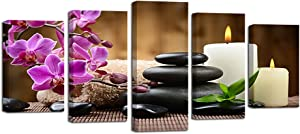 Ardemy Canvas Wall Art Zen Spa Black Stone Orchid 5 Panels Pictures Prints, Modern Peaceful Painting Framed for Living Room Bedroom Bathroom Home Hair Nails Salon Massage Wall Decor