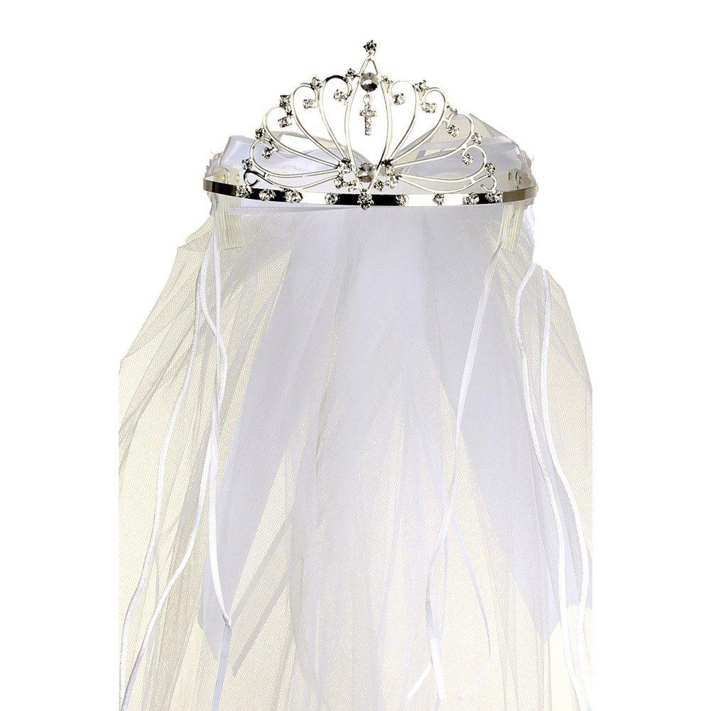 Rain Kids Girls White Rhinestone Double Layer Communion Flower Girl Tiara Veil