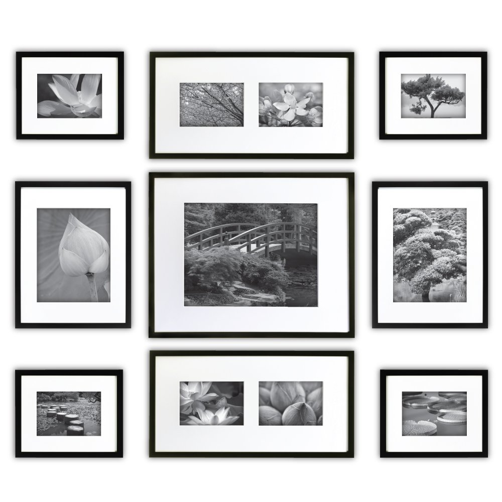 Gallery Perfect 9 Piece Black Photo Frame Gallery Wall Kit with Decorative Art Prints & Hanging Template by Gallery Perfect