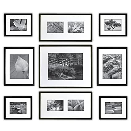 Amazon.com: Gallery Perfect 9 Piece Black Wood Photo Frame Wall ...