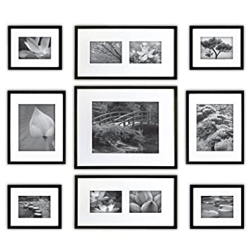 Gallery Perfect 9 Piece Black Photo Frame Gallery Wall Kit With Decorative Art Prints Hanging Template