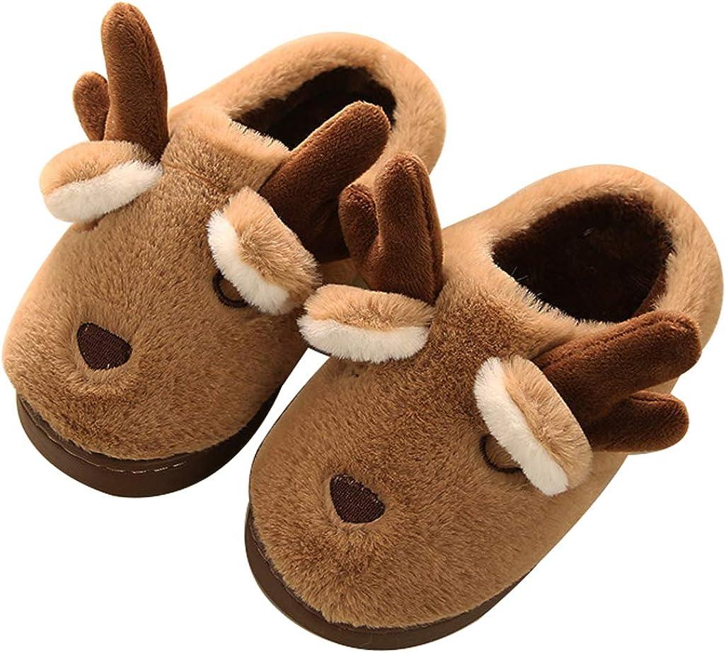 D.S.mor Toddler Little Kid Deer Cute Plush Children Shoes Kids Shoes