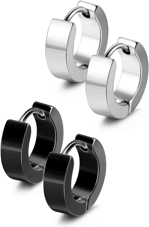Stainless Steel Hinged Surgical Blue 13mm Huggie Hoop Earrings