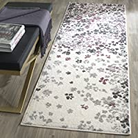 Safavieh Adirondack Collection ADR115L Ivory and Purple Contemporary Floral Runner (26 x 10)