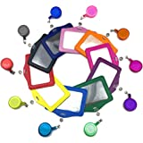 Hyamass 10pcs Multi-Color Pu Leather ID Badge Name Card Holder with Retractable ID Badge Reel (Horizontal)