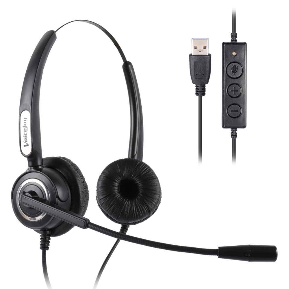 VoiceJoy Call Center Noise Cancelling Corded Binaural Headset Headphone with Mic Microphone with USB Plug For Computer and Laptop, Volume Control and Mute Switch