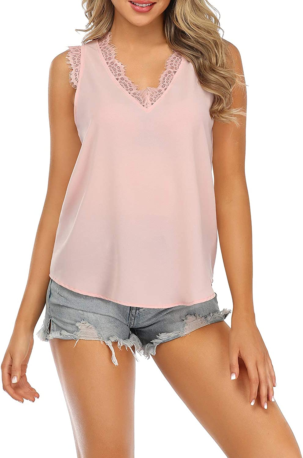 Derssity Tank Tops for Womens Casual Lace Sleeveless Summer Tops V-Neck T-Shirts Tunic Blouse