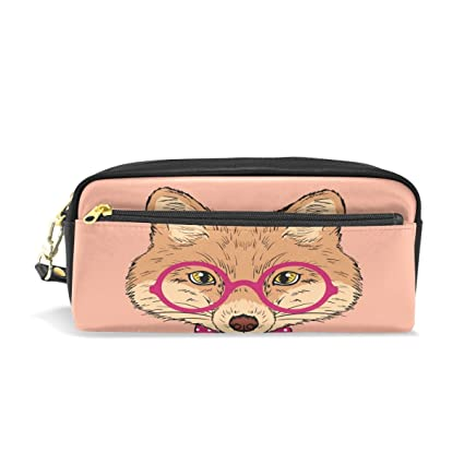 ISAOA The Fox - Estuche para lápices con gafas de color rosa ...