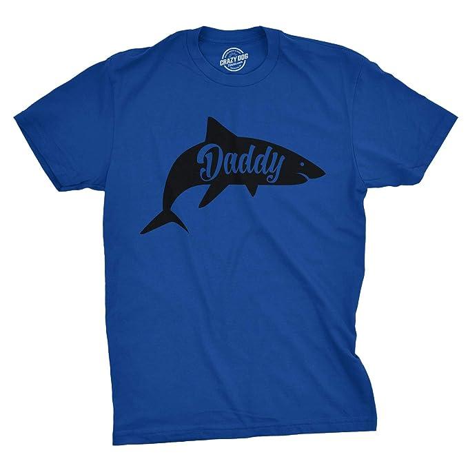 cdf799f8 Mens Daddy Shark Tshirt Cute Funny Family Ocean Beach Summer Vacation Tee  for Guys (Blue