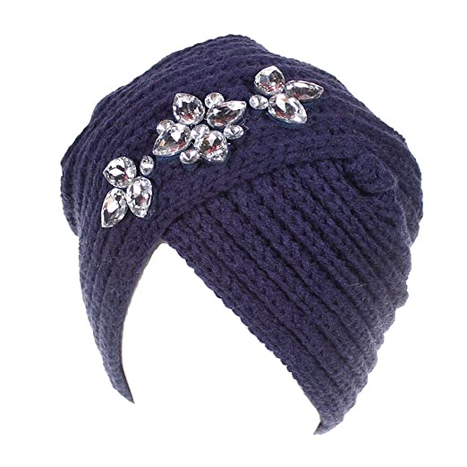 1656d1138b0 RNTOP Women Ladies Winter Knitting Hat Turban Brim Hat Cap Pile Cap with  Rhinestone (Navy