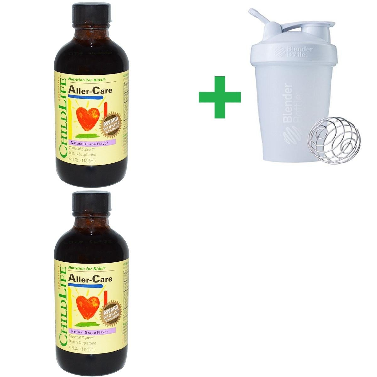 ChildLife, Essentials, Aller-Care, Natural Grape Flavor, 4 fl oz (118.5 ml) (2 PACKS) + Assorted Sundesa, BlenderBottle, Classic With Loop, 20 oz