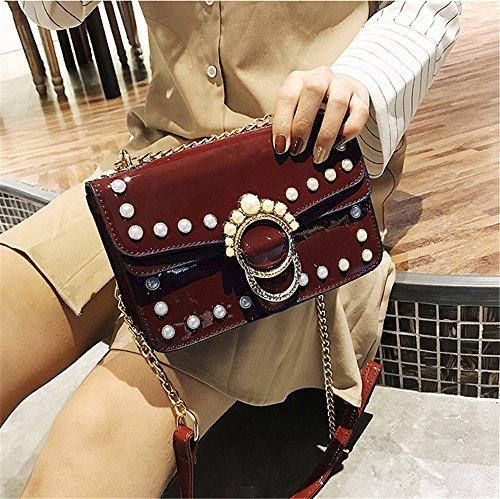 Femenina Pequeño Paquete La Hombro Moda Versión Marea Cruz De Cientos Solo Personalidad Coreana Bolsa Cuadrado Oblicuo Perla B Aoligei 7qnHpI