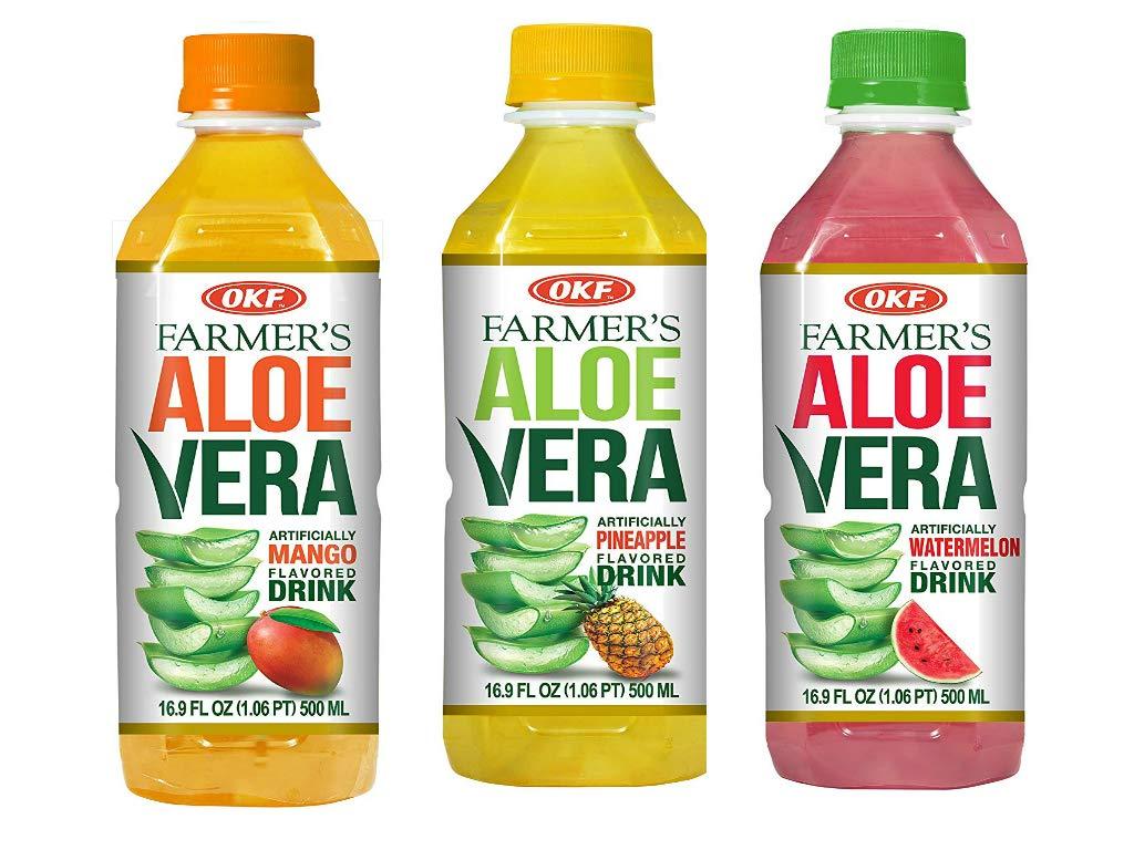 OKF Farmer's Aloe Vera Drink, Mango, Pineapple and Watermelon, 16.9 Fluid Ounce (Pack of 20 each)