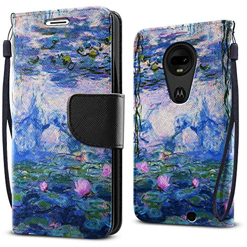 FINCIBO Case Compatible with Motorola Moto G7 / G7 Plus / G7+ 6.2 inch, Fashionable Flap Wallet Pouch Cover Case + Card Holder Stand For Moto G7 / G7 Plus (NOT FIT G7 Play) - Claude Monet Water Lilies