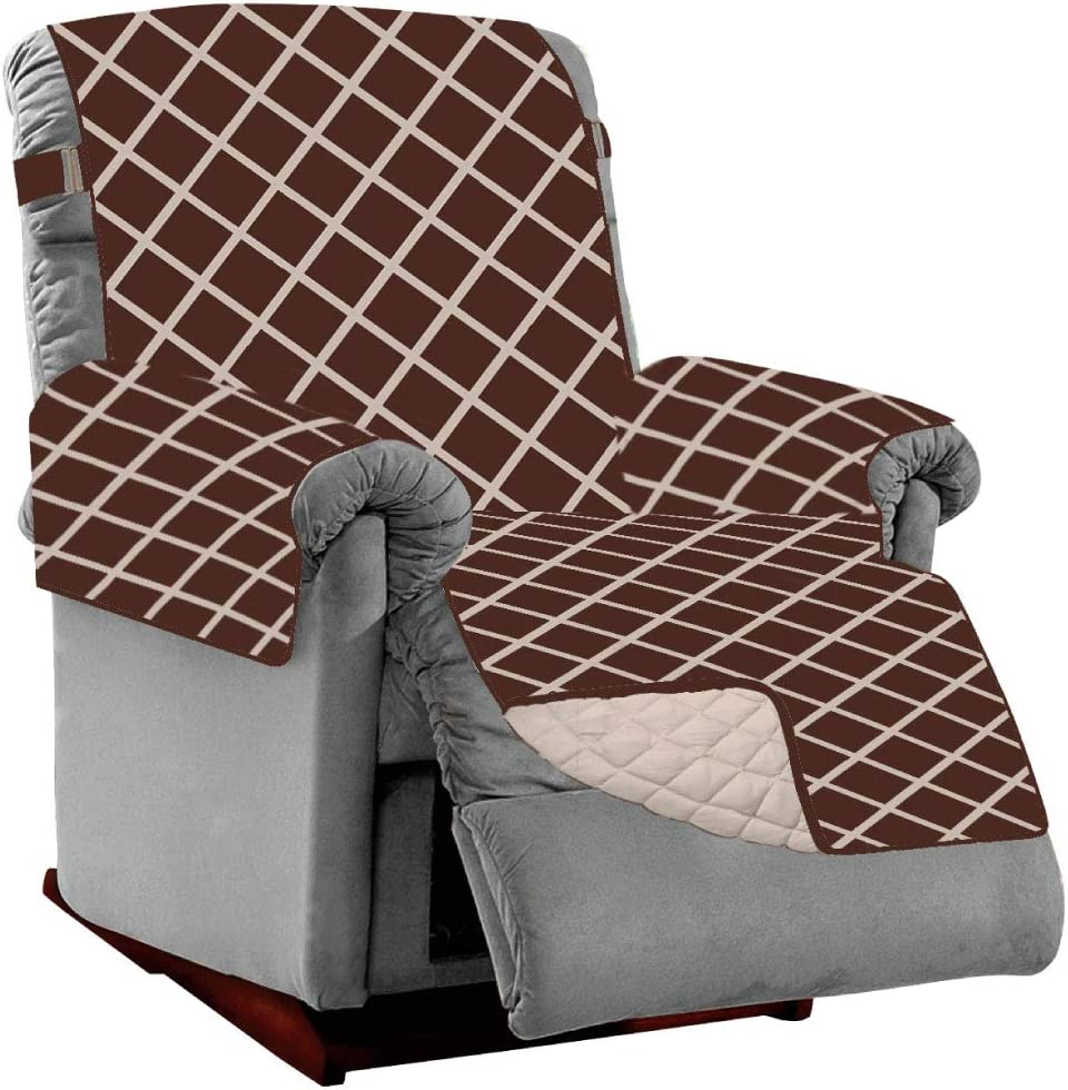 Sofa Shield Original Patent Pending Reversible Small Recliner Protector, Many Colors, Seat Width to 25 Inch, Furniture Slipcover, 2 Inch Strap, Reclining Chair Slip Cover, Diamond Chocolate Beige