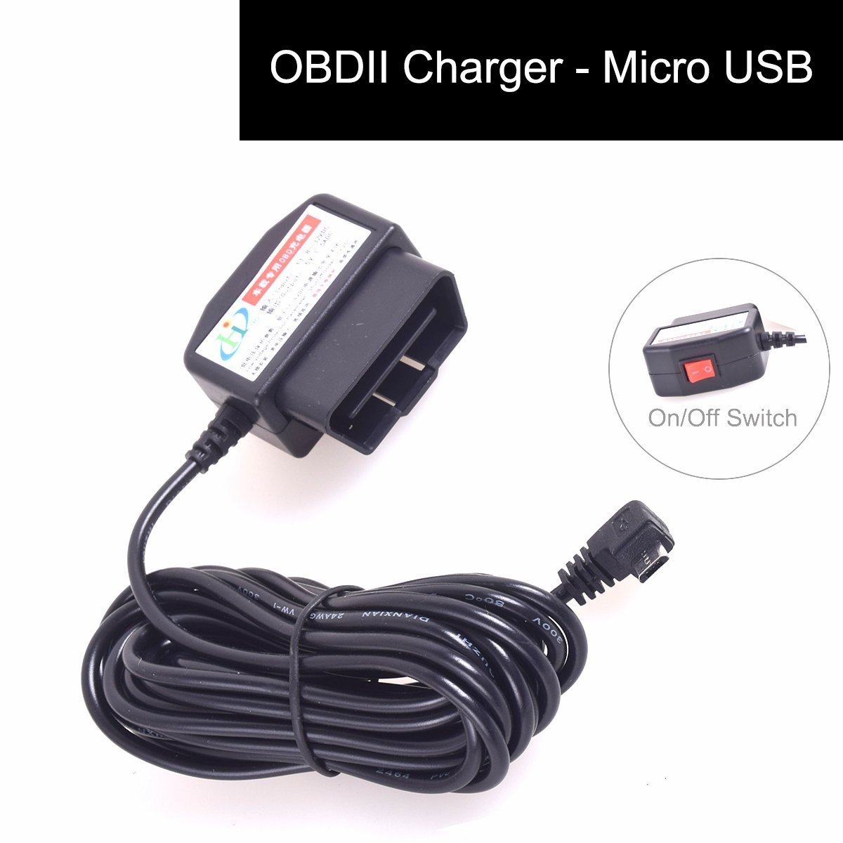Amazon.com: E-KYLIN OBDII Charging Cable Micro USB Power Adapter - 16Pin OBD2  Connector Direct Link Charger for Gps DVR Camcorder Tablet E-dog Phone(HTC  ...