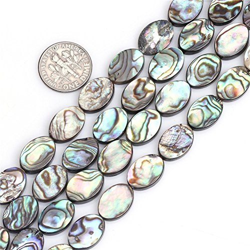 13x18mm Natural Flat Oval Abalone Shell Semi Precious Gemstone Beads for Jewelry Making (22pcs/Strand)