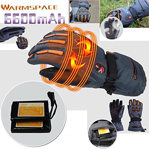 GOODKSSOP 1 Pair WARMSPACE PRO Winter Ski Outdoor Work Warmer Gloves Cycling Motorcycle Bicycle Smart Electric Heated Hands Glove With 5600mAh Rechargeable Battery