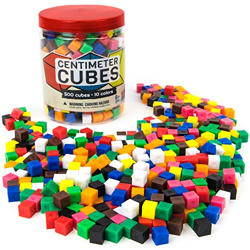 Set of 500 Centimeter Cubes with Storage Container - Mathematics Learning Tool & Educational Teacher Resource for Sorting, Measuring, Counting, & Base-10 Units by Pint-Size - Cubes Centimeter