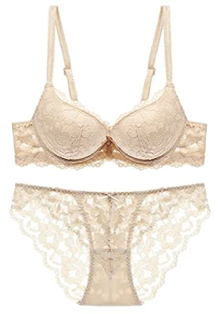 a1733d922a RRINSINS Womens Lace Bra and Panty Set Underwire Floral Everyday Lingerie  Set 1 32A