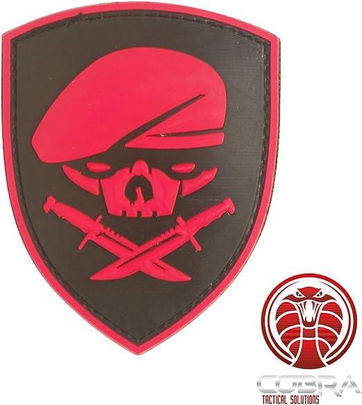 Cobra Tactical Solutions SAS BERET SKULL Parche PVC Táctico Moral Militar con Cinta adherente de Airsoft Paintball para Ropa de Mochila táctica: Amazon.es: Hogar