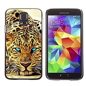 Paccase / SLIM PC / Aliminium Casa Carcasa Funda Case Cover - Leopard Tattoo Africa Cat Animal Nature - Samsung Galaxy S5 SM-G900