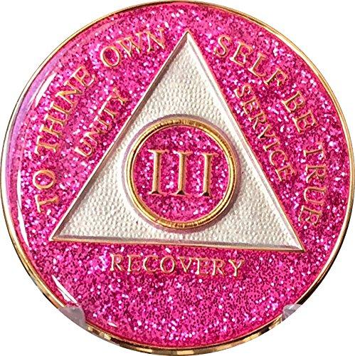 (3 Year AA Medallion Glitter Pink Tri-Plate Chip III)