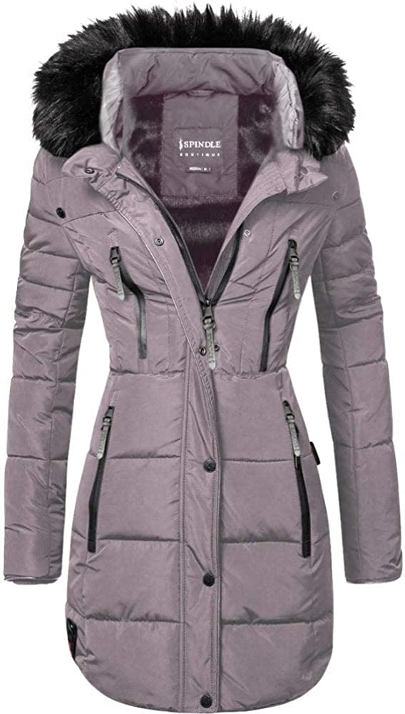 Spindle Womens Designer Long Fur Parka Hooded Jacket Quilted Winter Padded Coat Zip Pockets