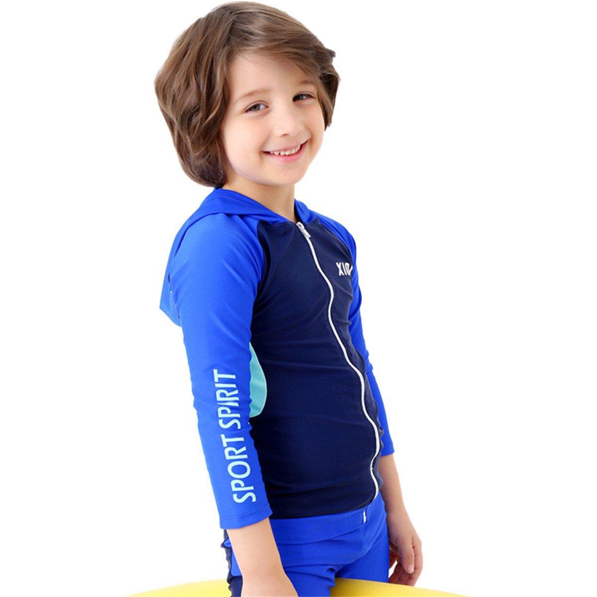 JELEUON Little Kids Boys 2 Pieces Long Sleeve Blue Hoodie Swimwear Sun Protection Zipper UV Rash Guard Swimsuit