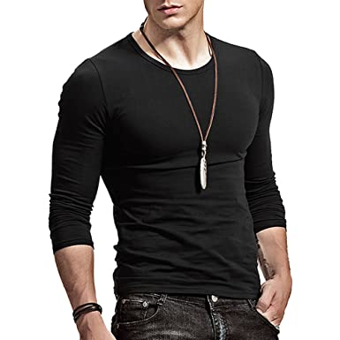 Amazon.com: XShing Fitting Men Soft Stretchy Long Sleeves Athletic ...