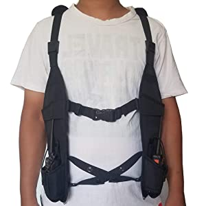 Lewong Universal Hands Free Chest Harness Bag Holsterfor Two Way Radio (Rescue Essentials) (Vest Harness) (Color: Vest Harness)